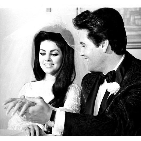 Shop Elvis And Priscilla Presley Smiling At Their Wedding Photo