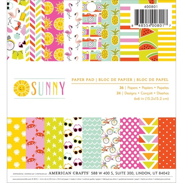 "Imaginisce Single-Sided Paper Pad 6""X6"" 36/Pkg-Sunny, 24 Designs/1-2 Each"