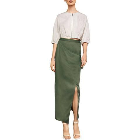 BCBG Max Azria Womens Maxi Skirt Faux-Wrap Below Knee