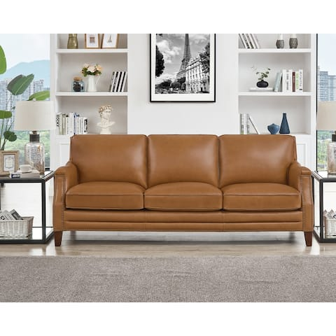 Hydeline Camano Top Grain Leather Sofa With Feather, Memory Foam and Springs