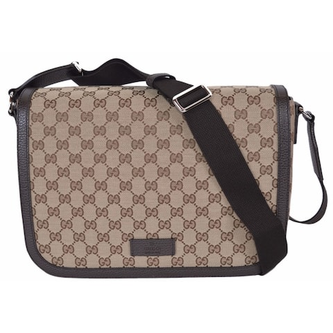 f207243290d Gucci 449171 9886 GG Guccissima Canvas Large Crossbody Messenger Bag Purse  - Beige Brown