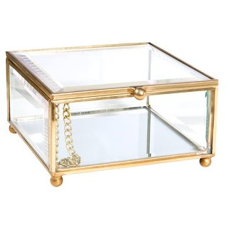 "Link to Home Details Vintage Mirrored Bottom Keepsake Box in Gold - 3.8""x 3.3""x 2"" Similar Items in Accent Pieces"