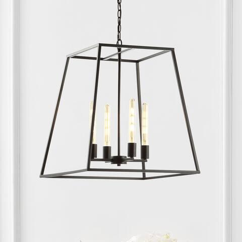 "JONATHAN Y Hutson 4-Light 21"" Iron Modern Angled LED Pendant, Black"
