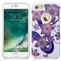 Insten Purple/ White Hibiscus Flower Romance Hard PC/ Silicone Dual Layer Hybrid Rubberized Matte Case Cover For Apple iPhone 7 - Thumbnail 0