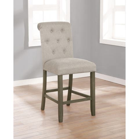 Croxton Upholstered Tufted Back Counter Height Stools (Set of 2)