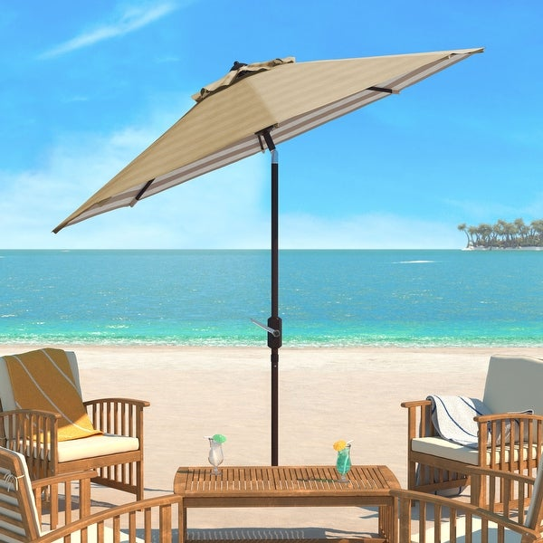 SAFAVIEH Athens Inside Out Striped 9 Ft Crank Beige/ White Outdoor Umbrella. Opens flyout.