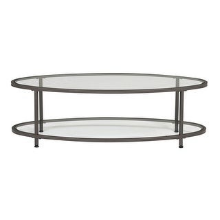 "Offex Camber 48"" Clear Glass Oval Coffee Table - Pewter"