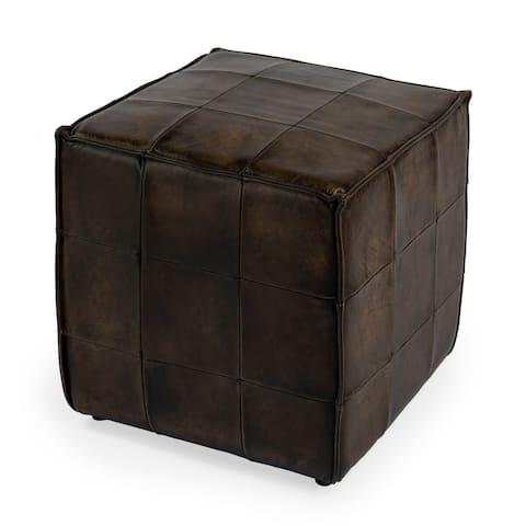 Offex Leon Decorative Square Dark Brown Button Tufted Leather Ottoman