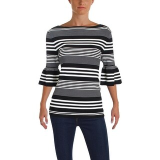 Lauren Ralph Lauren Womens Klarissa Pullover Sweater Striped Bell Sleeves