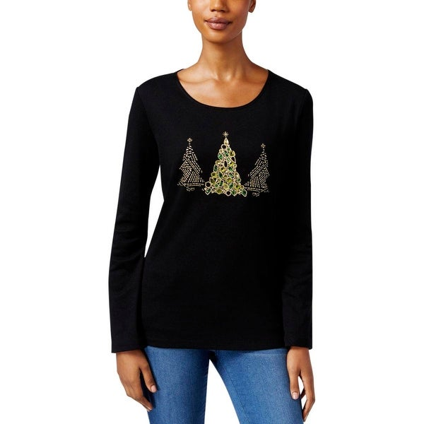 9aaed2276 Shop Karen Scott Womens Petites Graphic Tee Jeweled Crew Neck - Free  Shipping On Orders Over $45 - Overstock - 18390742