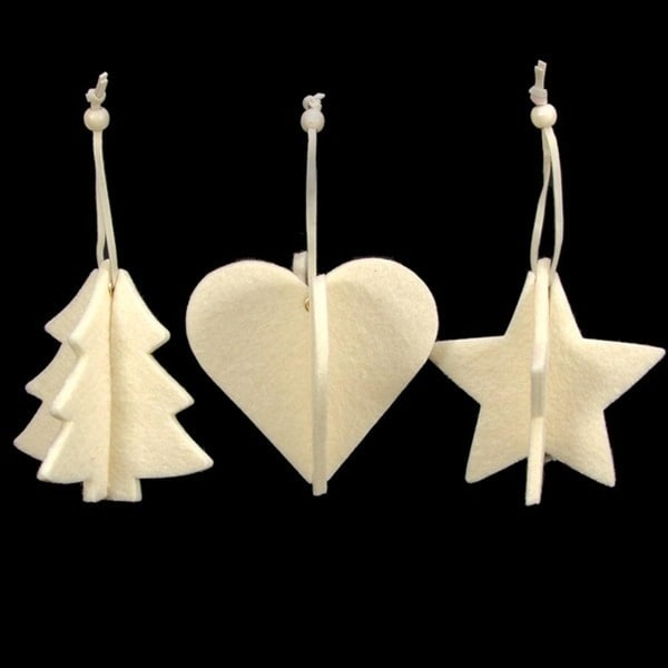 Club Pack of 15 Ivory Tree, Heart And Star 3D Felt Ornaments