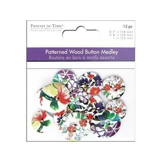 Multicraft Wood Craft Button Astd Floral Art