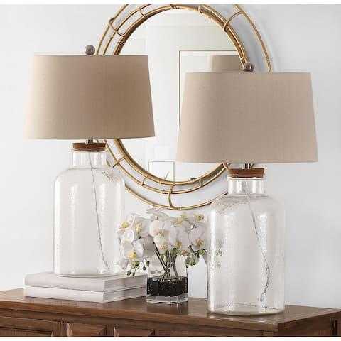 "Safavieh Lighting 27.5-inch Caden Glass Table Lamp (Set of 2) - 16"" x 16"" x 27.5"""