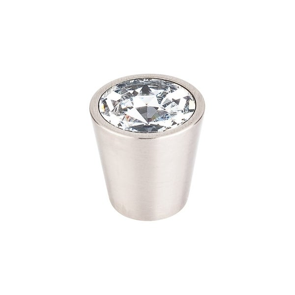 """Top Knobs TK135 Clear 1-1/16"""" Diameter Conical Cabinet Knob from the Crystal Series - Brushed Satin Nickel"""