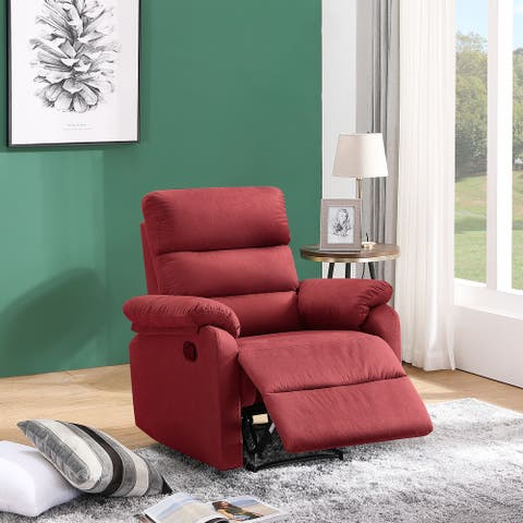 Red Fabric High-end Metal Frame Manual Recliner
