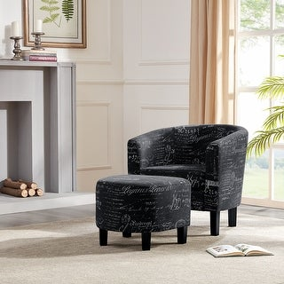 Belleze Accent Club Chair with Ottoman Round Arms Curved Backrest French Print Script Linen, Black