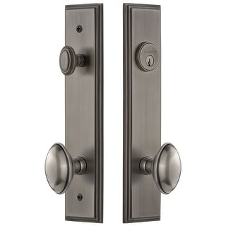 Grandeur CAREDN_TP_ESET_238  Carre Solid Brass Tall Plate Single Cylinder Keyed Entry Set with Eden Prairie Knob and 2-3/8""