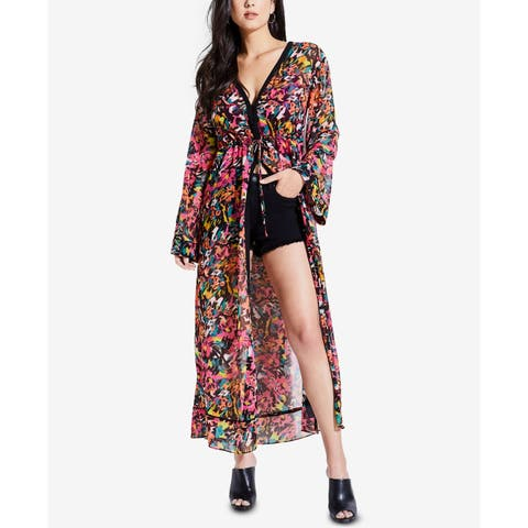 Guess Pink Women's Size XS Lucid Jungle Button Down Long Kimono