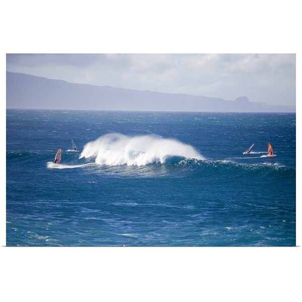 """""""Windsurfers and giant waves"""" Poster Print"""