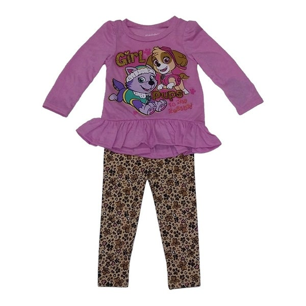 American Character Baby Girls Purple Gold Pups Print 2 Pc Pant Set