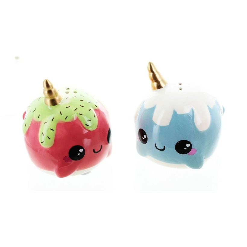 Glitter Galaxy Pink & Blue Ice Cream Cone Narwhal Salt & Pepper Shaker Set - Multi (Multi) -  Overstock