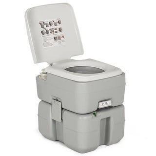 Gymax 5.3 Gallon Portable Travel Toilet Outdoor Camping Toilet w/ Piston Pump Flush - gray