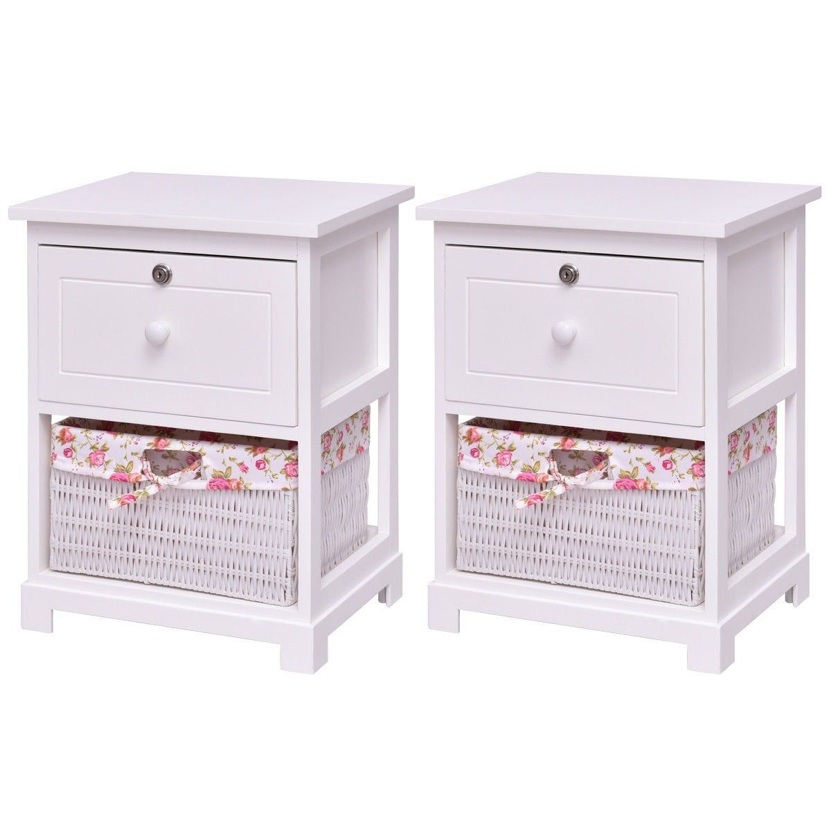 Costway 2PCS 2 Tiers Wood Nightstand 1 Drawer 1 Basket Bedside End Table Organizer White