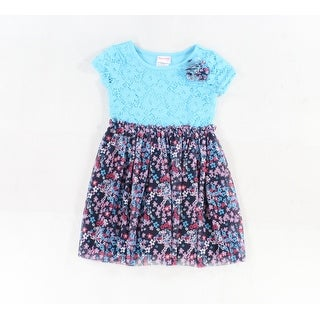 Nannette NEW Blue Violet Girls Size 5 Floral Lace Applique Colorblock Dress 329