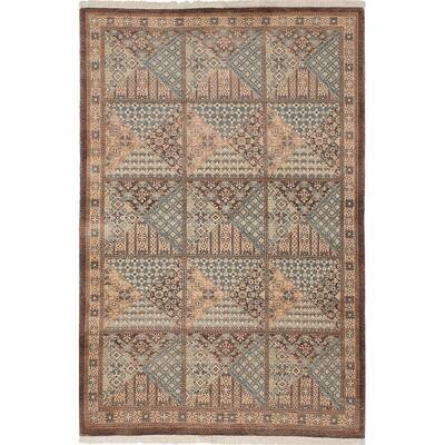 "ECARPETGALLERY Hand-knotted Pako Persian Brown, Slate Blue Wool Rug - 3'11"" x 6'0"""