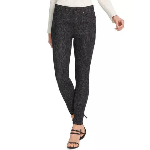 DKNY Women's Printed High-Rise Skinny Jeans Med Gray Size 24