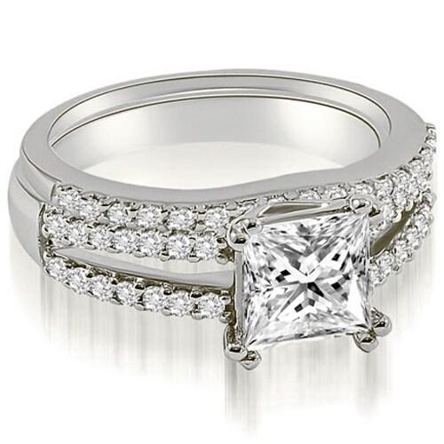 1.09 cttw. 14K White Gold Princess Cut Split Shank Diamond Bridal Set