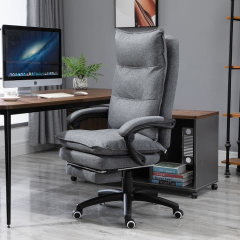 Vinsetto 360° Swivel Home Office Chair Adjustable Height Recliner with Retractable Footrest and Double Padding