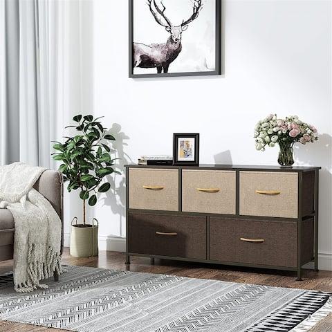 Dresser with 5 Drawers, Storage Tower, Fabric Bins, Organizer Unit Closets, Nurseries, Sturdy Steel Frame, Wood Top