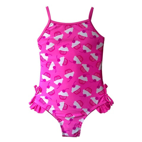 Girls One Piece in Pink & White Cupcake Print with Bows & Ruffles