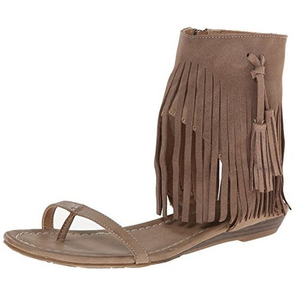 Very Volatile Womens Lex Dress Sandals Faux Leather Fringe
