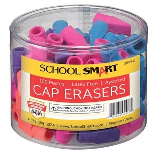 School Smart Chisel Shaped Latex-Free Pencil Cap Eraser, Assorted Colors, Pack of 100