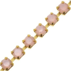 Czech Crystal Brass Rhinestone Cup Chain 18PP Rose Pink (By The Foot)
