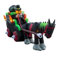 Holidayana Giant 11.7 Ft Airblown Inflatable Halloween Carriage with Super Bright Internal Lights, Built-in Fan & Anchor Ropes