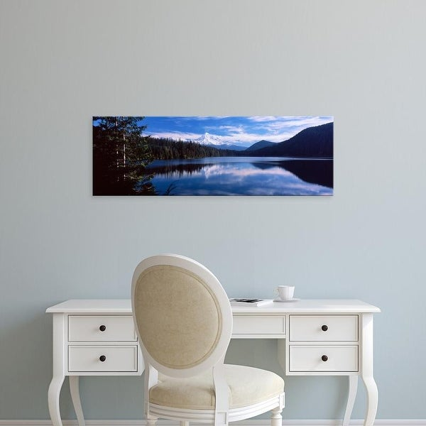 Easy Art Prints Panoramic Image 'Reflection of clouds in water, Lost Lake, Mt. Hood National Forest, Oregon' Canvas Art