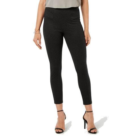 Hue Plus Women's Tweed High-Waist Knit Pull-on Leggings, Black, XXL