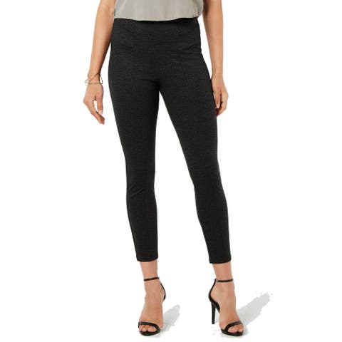 Hue Women's Tweed High-Waist Knit Pull-On Leggings, Black, XS