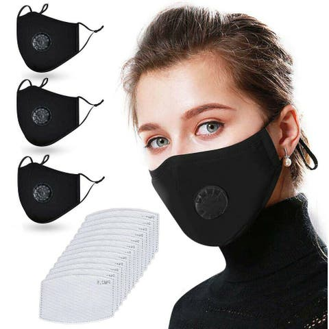 Reusable Washable Cloth Face Mask with Air Port and 2 PM2.5 Filters