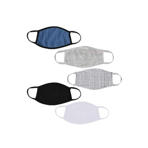 5-Pack Adult Assorted Polyester Cotton Lined Cloth Face Masks
