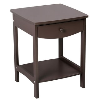 Modern Coffee Side Table Bedside Nightstand with Two Drawers (Brown)