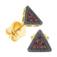 Prism Jewel 0.10CT Round Cognac Color Diamond Triangle Shaped Push Back Stud Earring