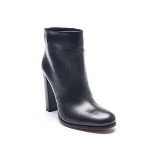 Prada Women's Vitello Leather Ankle Booties Black