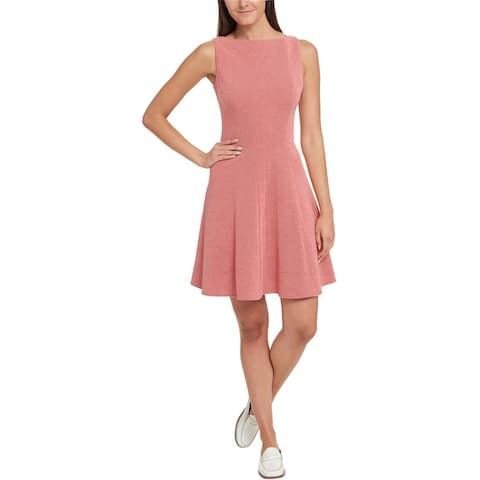Tommy Hilfiger Womens Textured Fit & Flare Dress