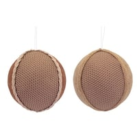 Club Pack of 12 Brown Burlap and Faux Leather Decorative Christmas Ornaments 3.5""