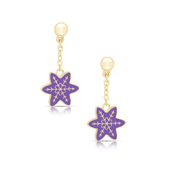 Lily Nily Girl's Snowflake Dangle Earrings - Purple