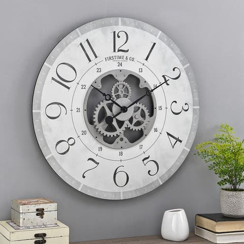 FirsTime & Co.® Carlisle Gears Wall Clock, Wood, 27 x 2 x 27 in, American Designed - 27 x 2 x 27 in
